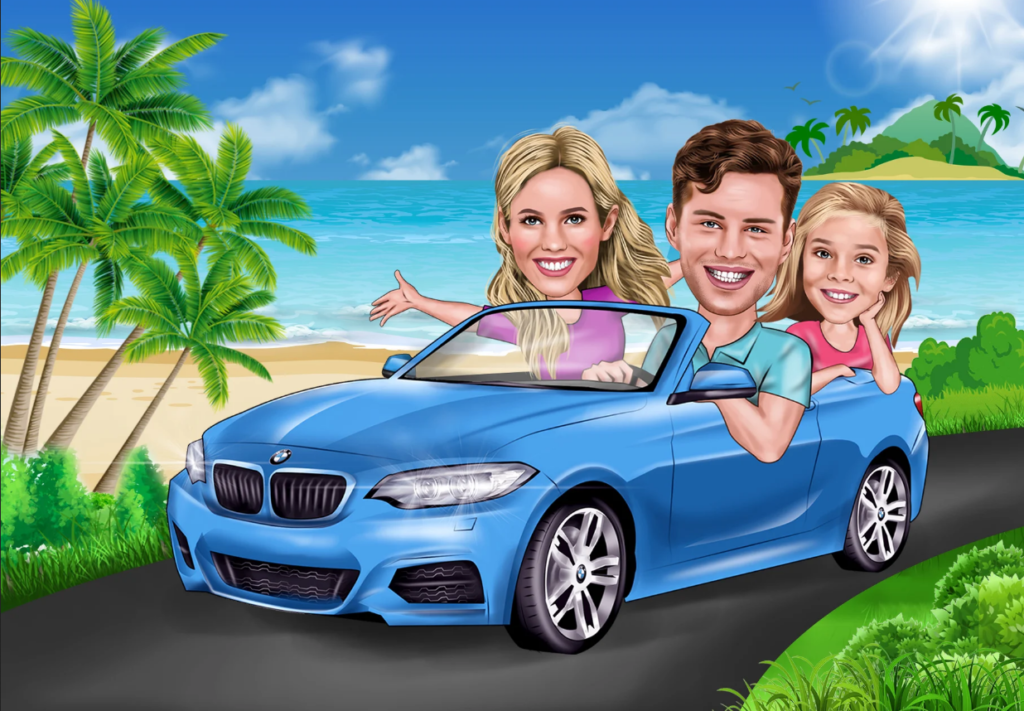 unique cartoon caricature for your portrait, and family