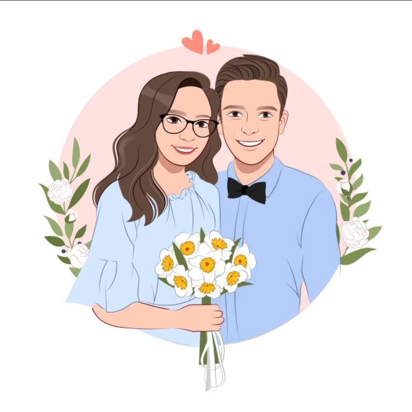 draw cartoon disney portrait for couple, family, wedding - Cartoon Caricature Draw (10)