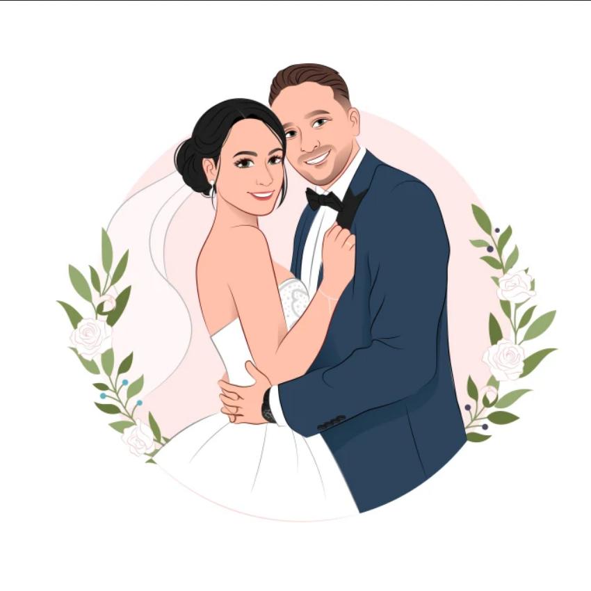 draw cartoon disney portrait for couple, family, wedding - Cartoon Caricature Draw (6)